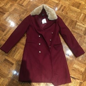 NWT Topshop Burgundy Coat with Faux Fur